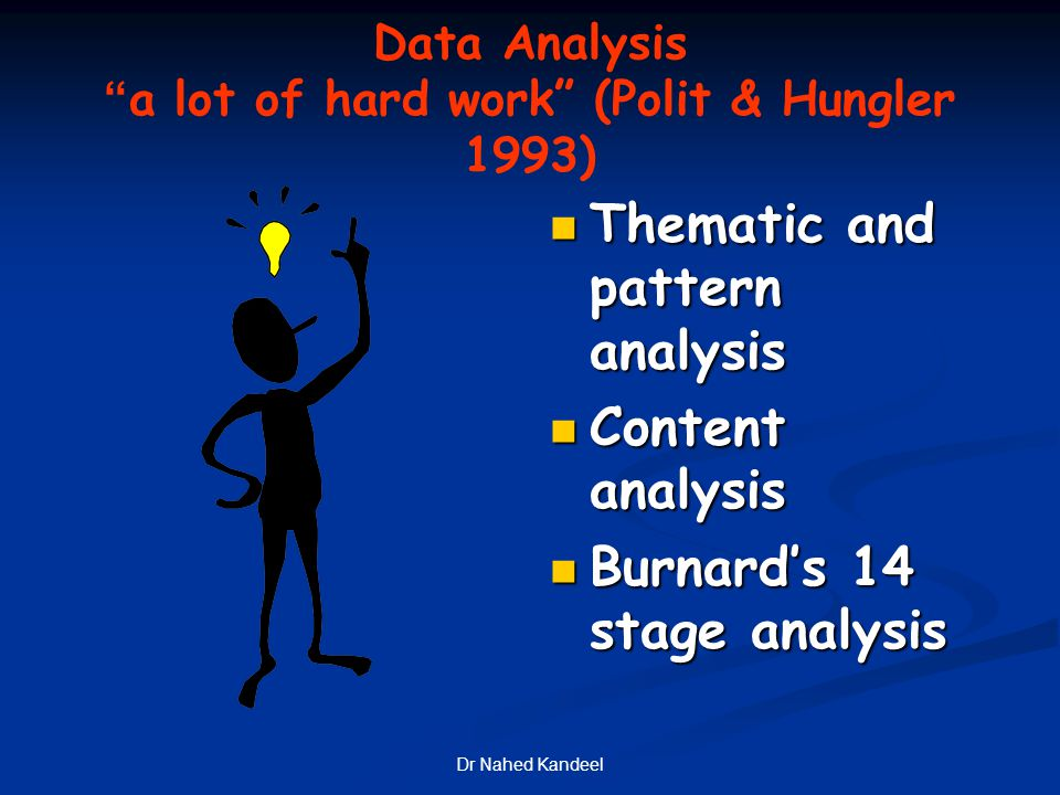 Data Analysis a lot of hard work (Polit & Hungler 1993)