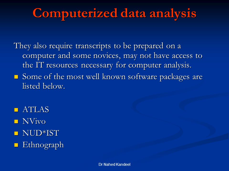 Computerized data analysis