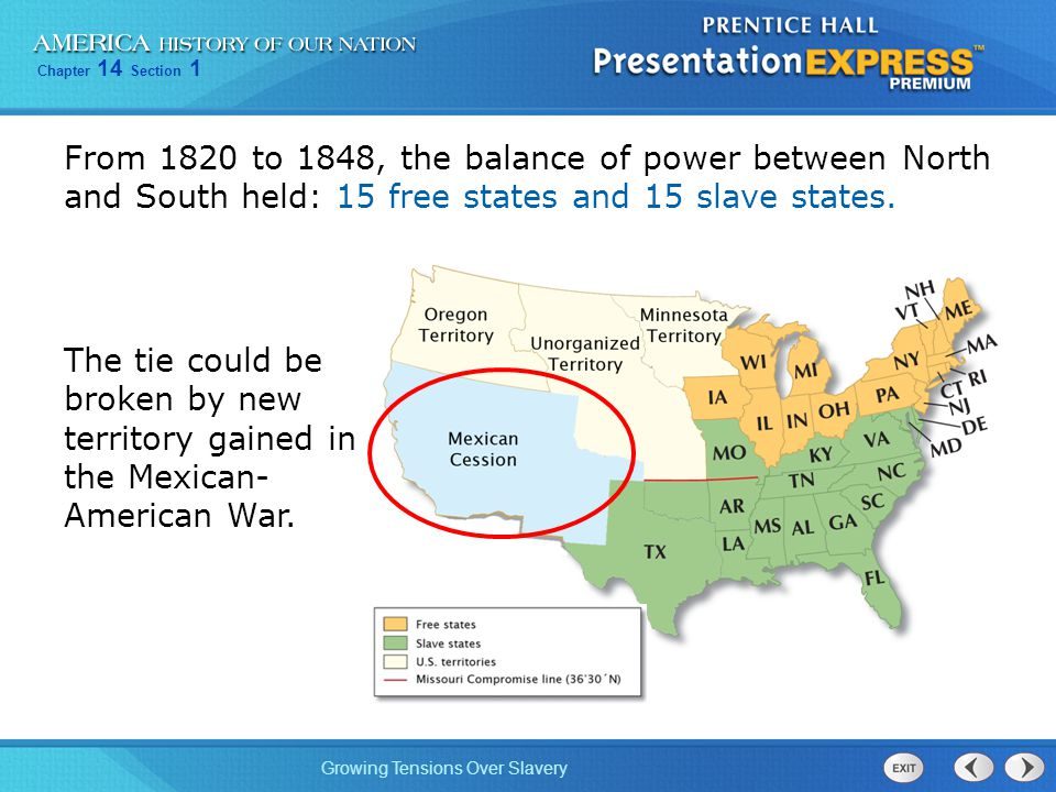 From 1820 to 1848, the balance of power between North and South held: 15 free states and 15 slave states.
