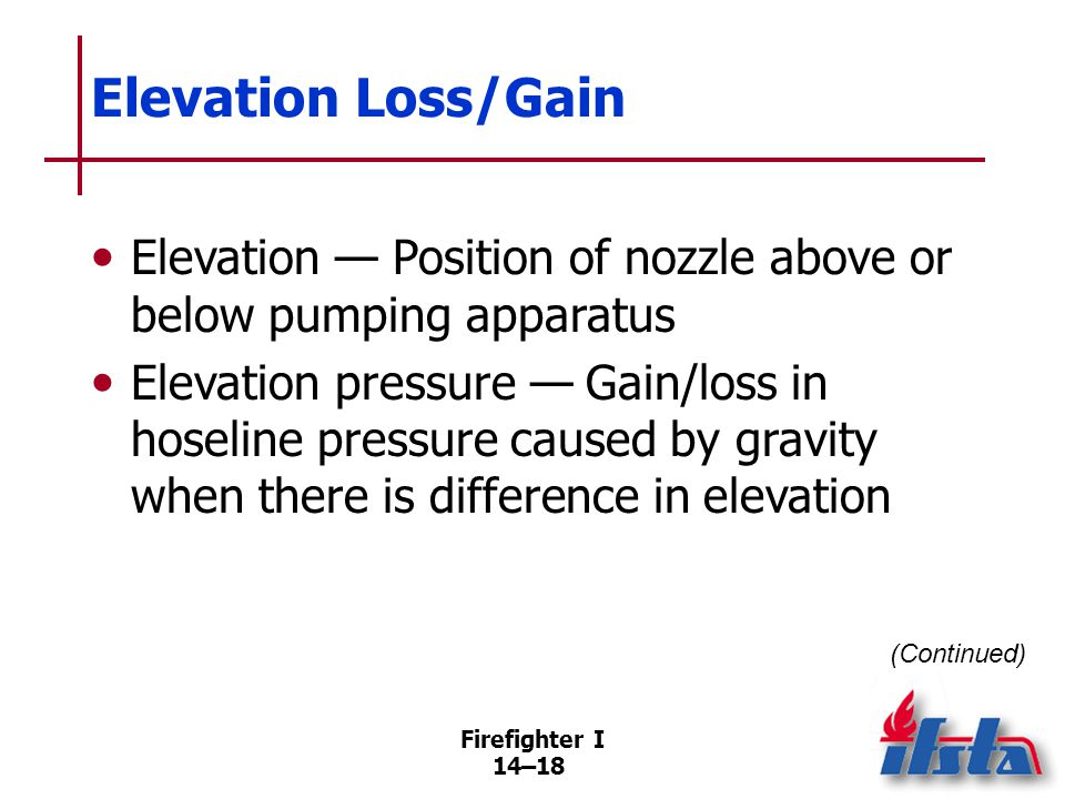 Elevation Loss/Gain Pressure loss — When nozzle is above fire pump