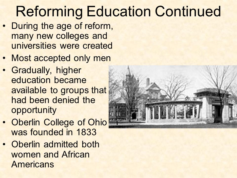 Reforming Education Continued