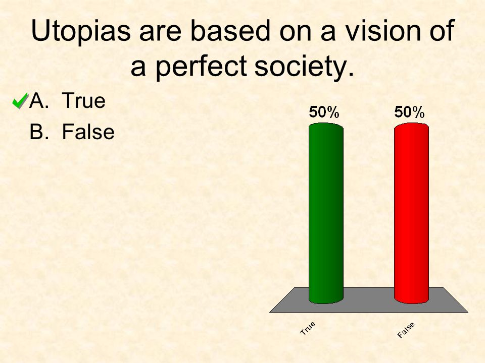 Utopias are based on a vision of a perfect society.