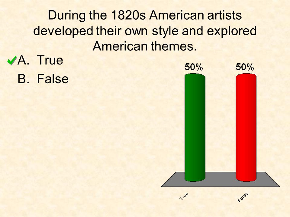 During the 1820s American artists developed their own style and explored American themes.