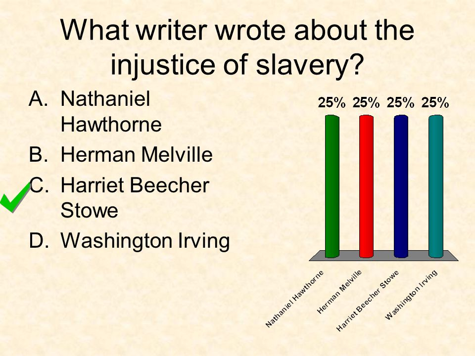What writer wrote about the injustice of slavery