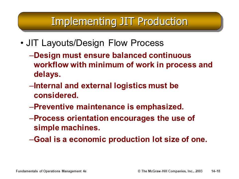 Implementing JIT Production