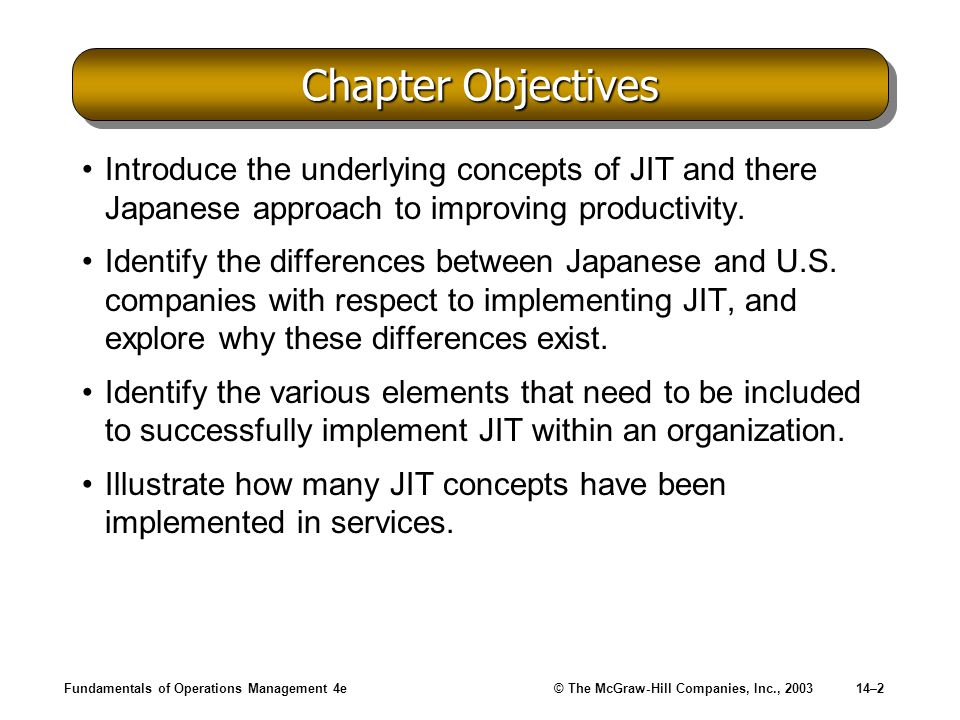 Chapter Objectives Introduce the underlying concepts of JIT and there Japanese approach to improving productivity.