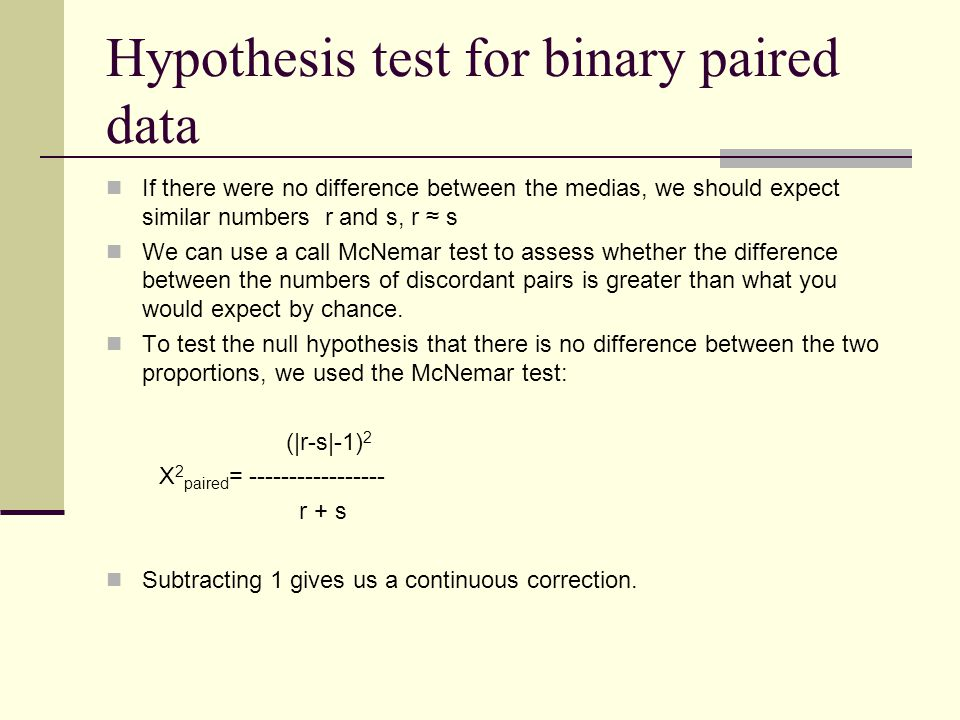 Hypothesis test for binary paired data