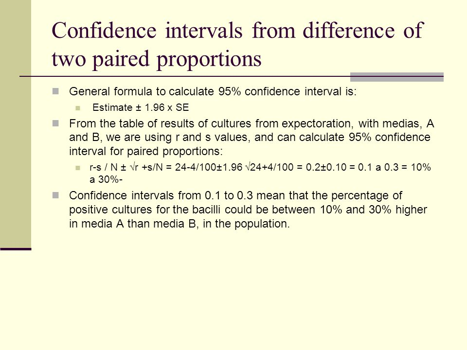 Confidence intervals from difference of two paired proportions