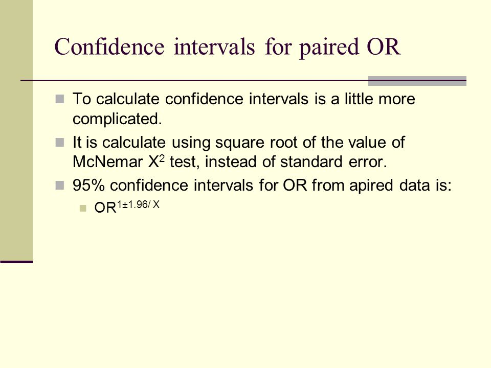 Confidence intervals for paired OR