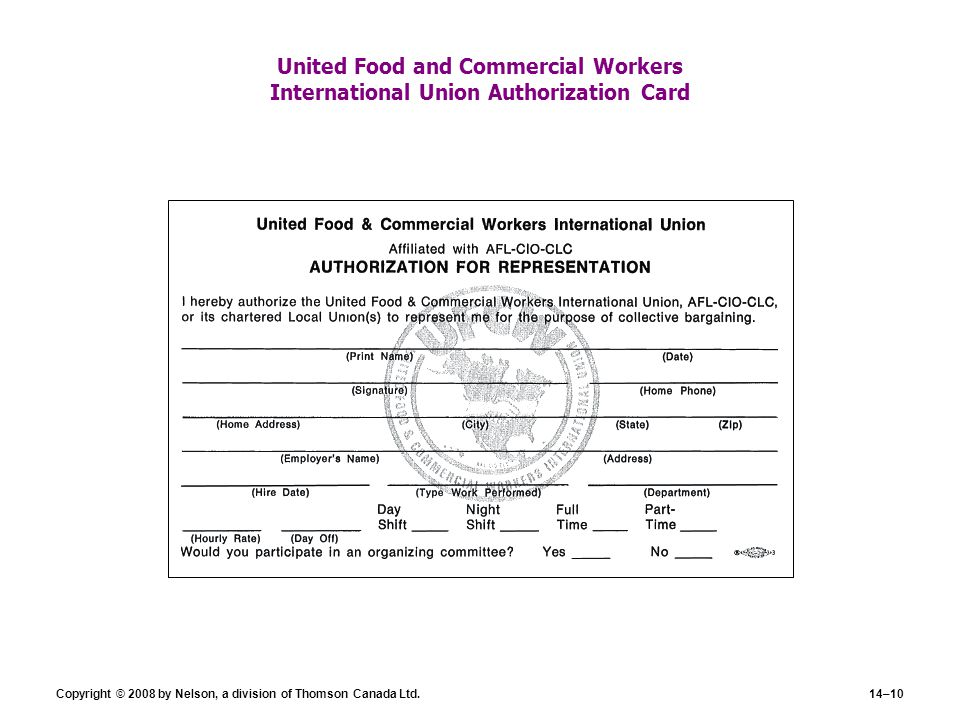 United Food and Commercial Workers International Union Authorization Card
