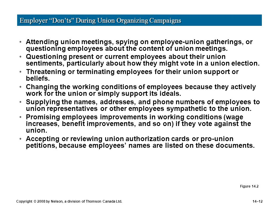 Employer Don'ts during Union Organizing Campaigns