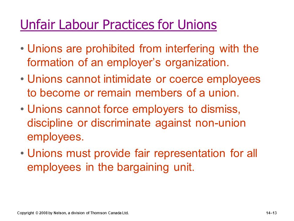 Unfair Labour Practices for Unions