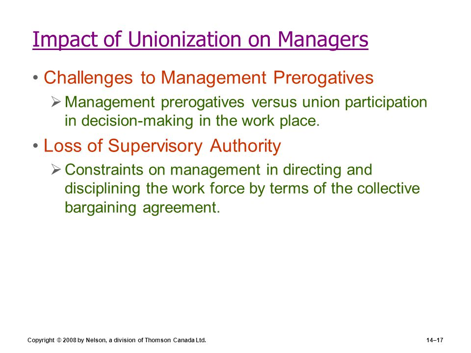 Impact of Unionization on Managers