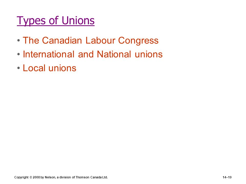 Types of Unions The Canadian Labour Congress
