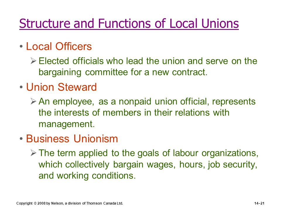 Structure and Functions of Local Unions
