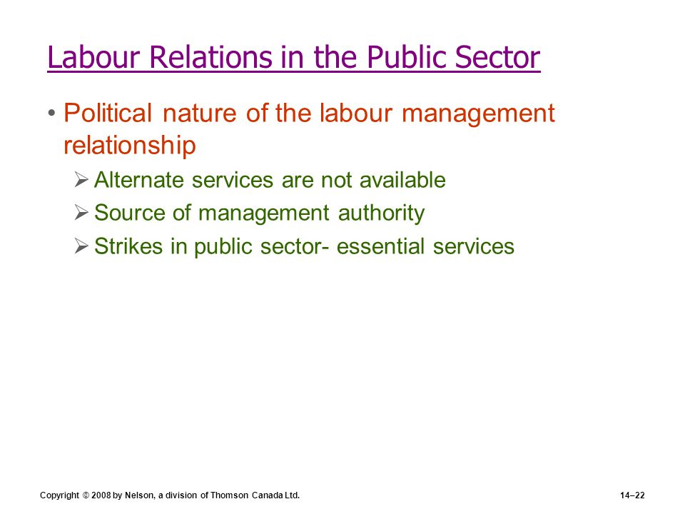 Labour Relations in the Public Sector