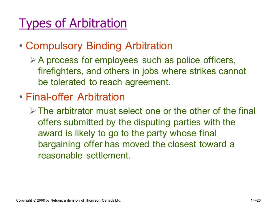 Types of Arbitration Compulsory Binding Arbitration