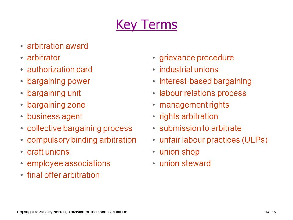Key Terms arbitration award arbitrator authorization card