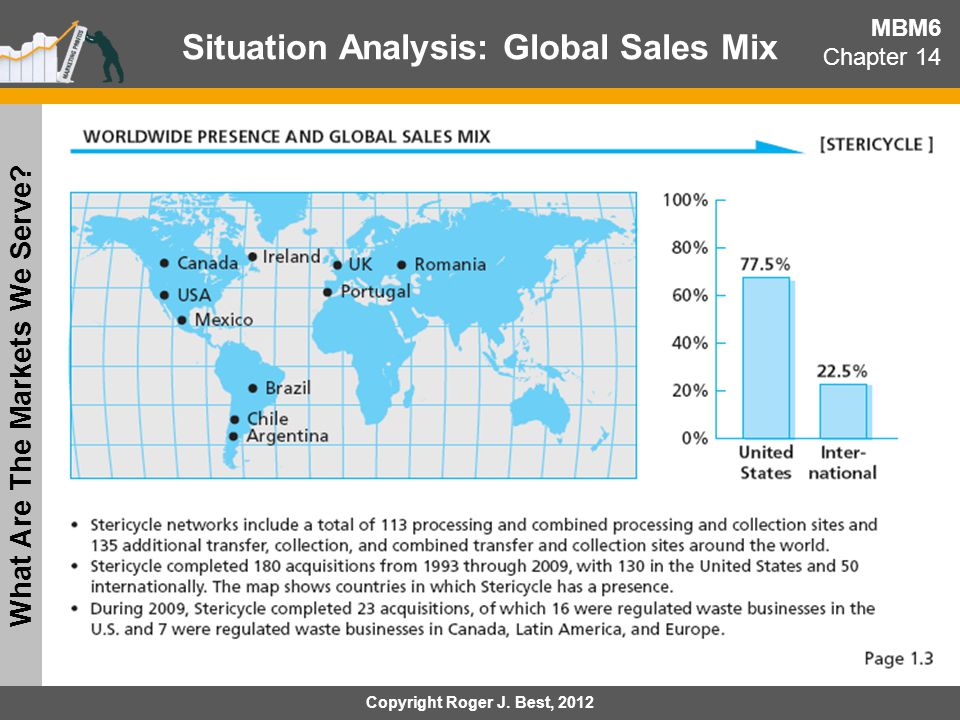 Situation Analysis: Global Sales Mix What Are The Markets We Serve