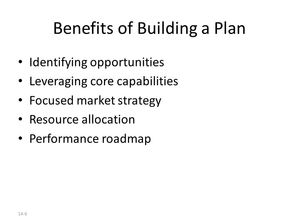 Benefits of Building a Plan