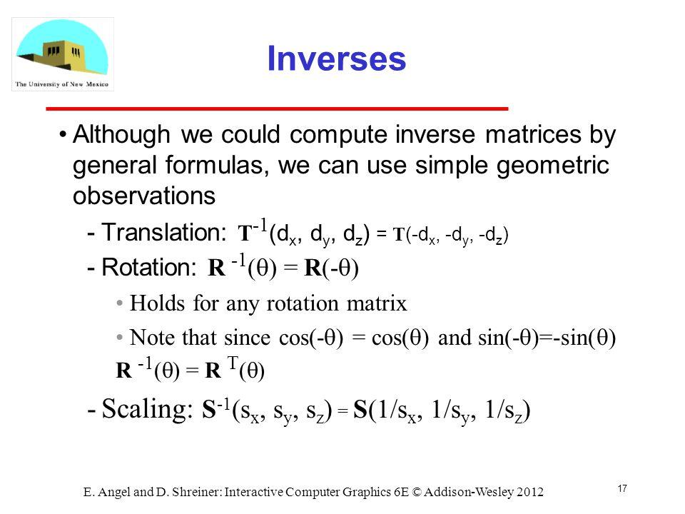 Inverses Scaling: S-1(sx, sy, sz) = S(1/sx, 1/sy, 1/sz)