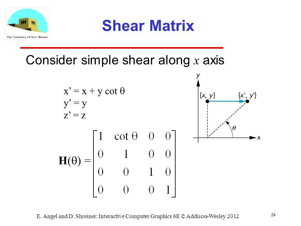 Shear Matrix Consider simple shear along x axis H(q) =