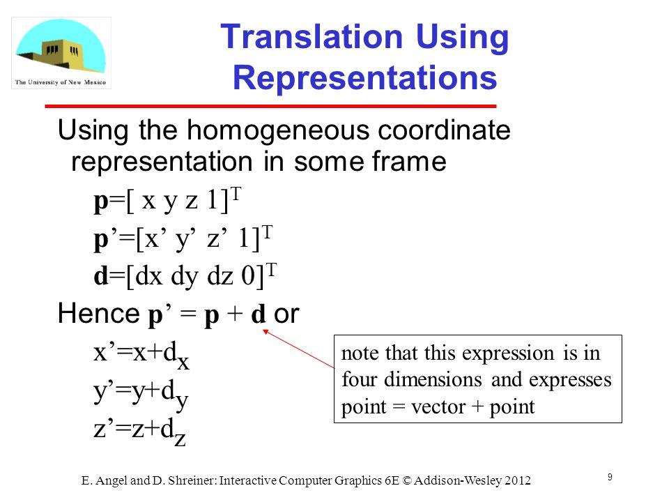 Translation Using Representations
