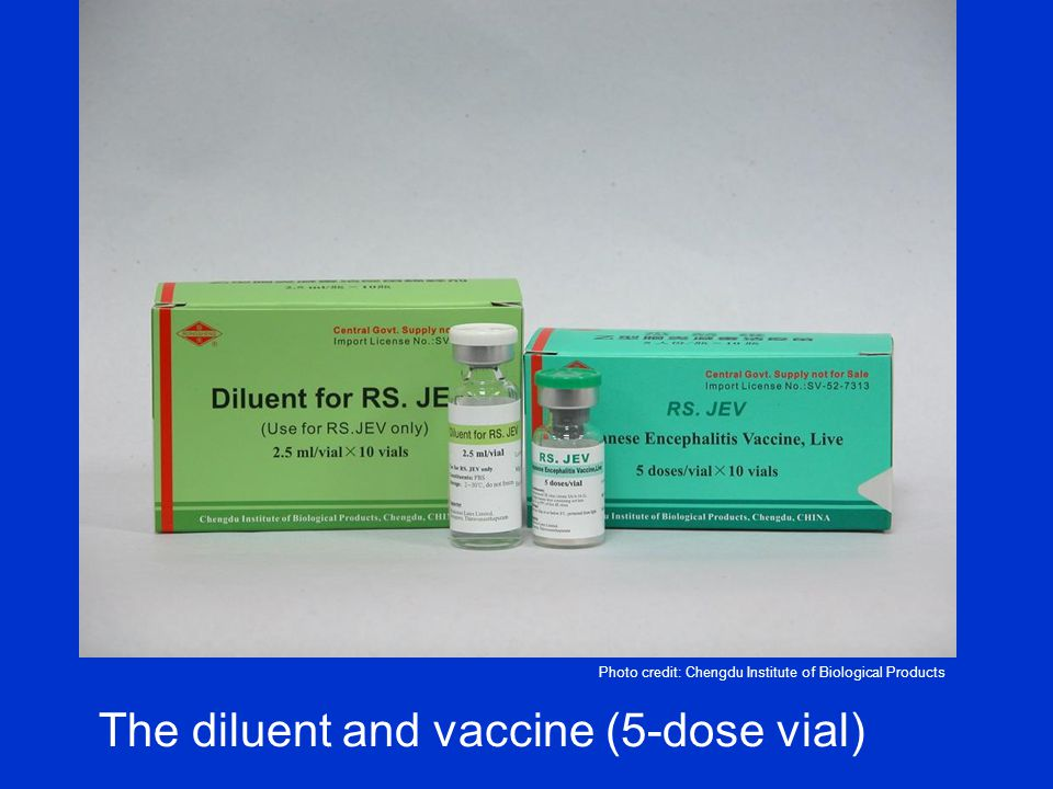 The diluent and vaccine (5-dose vial)