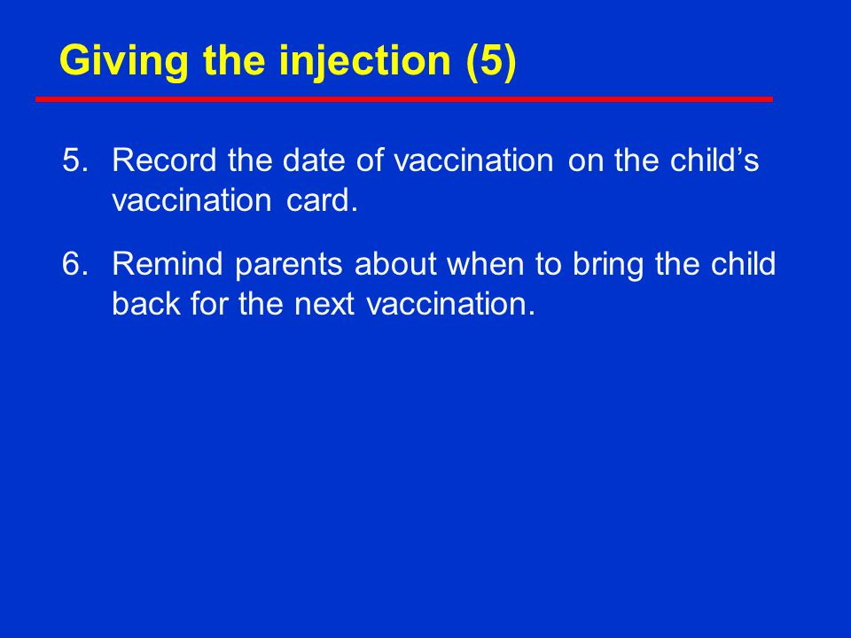 Giving the injection (5)