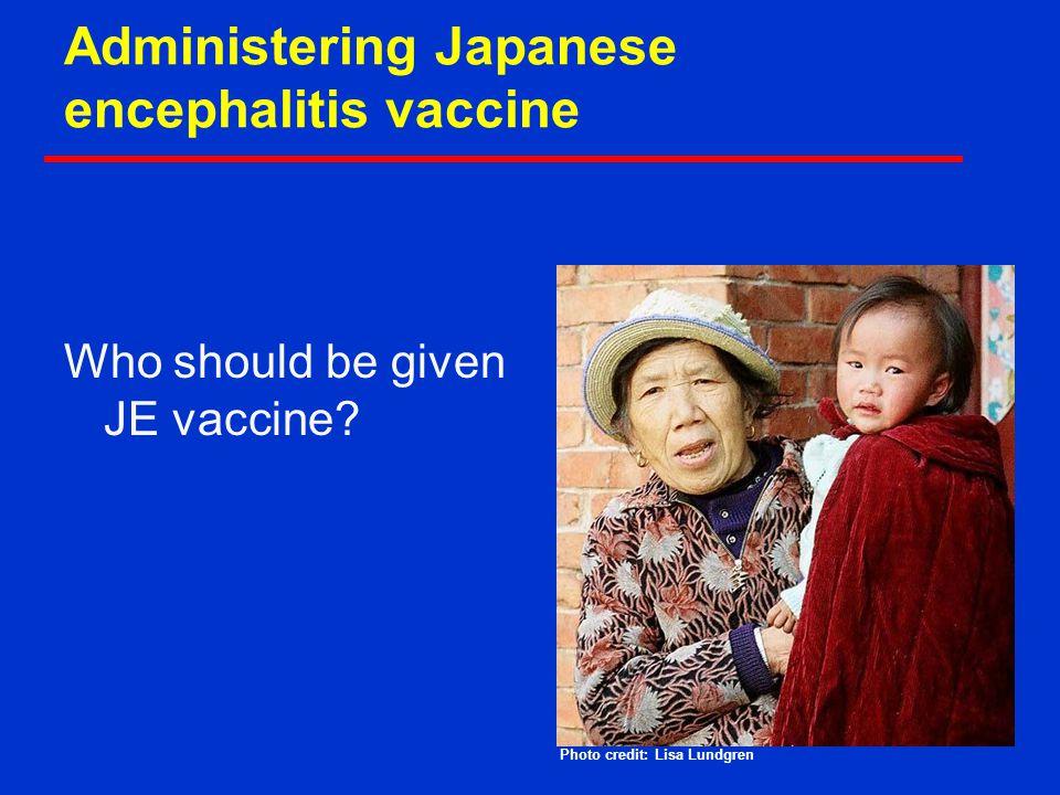 Administering Japanese encephalitis vaccine