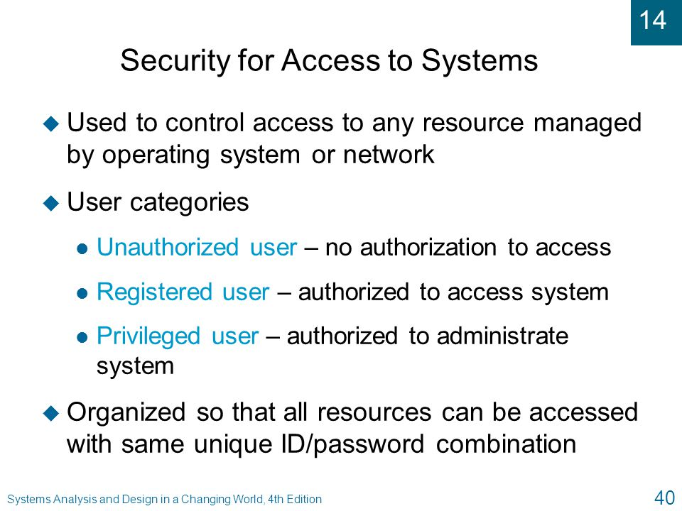 Security for Access to Systems