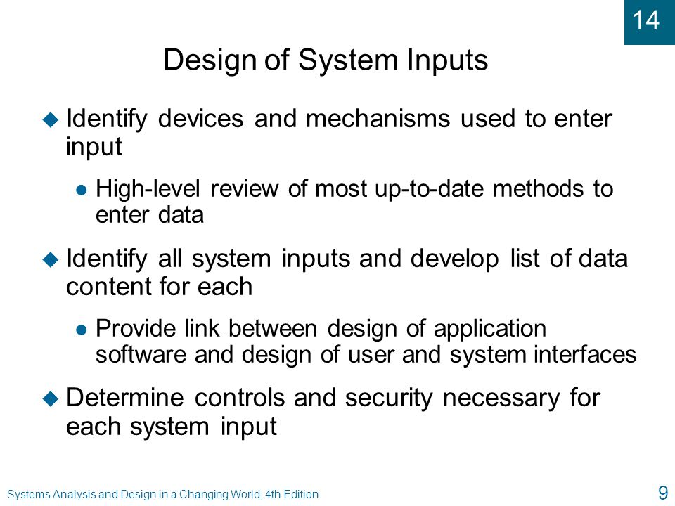 Design of System Inputs