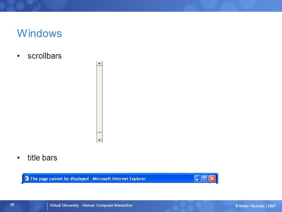 Windows scrollbars title bars