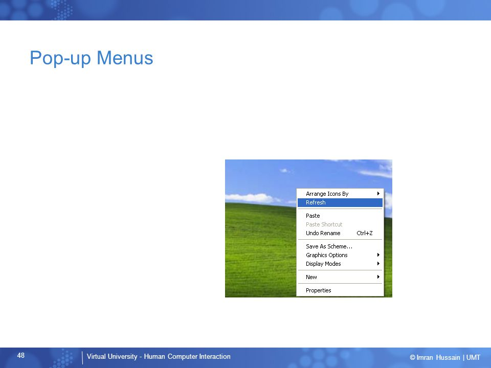 Pop-up Menus