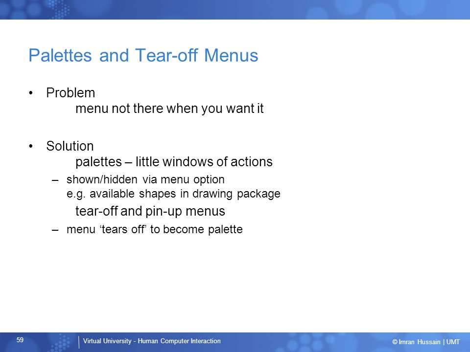 Palettes and Tear-off Menus
