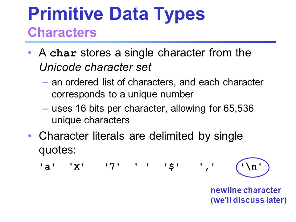 Primitive Data Types Characters