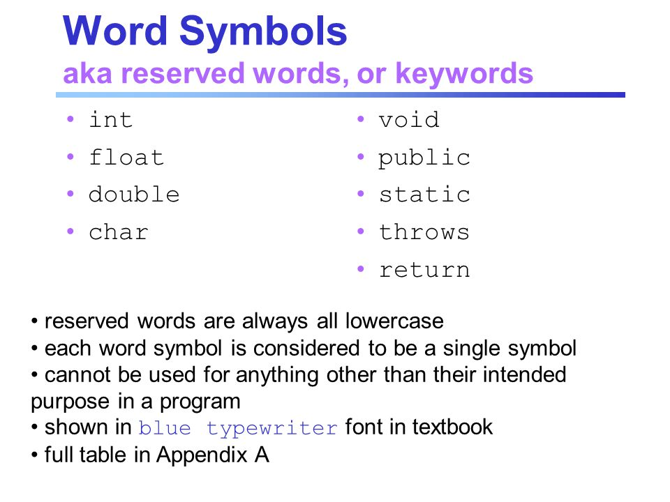 Word Symbols aka reserved words, or keywords