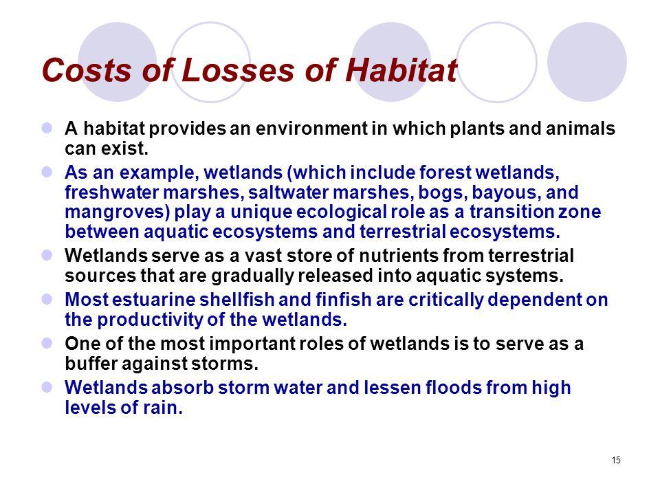 Costs of Losses of Habitat