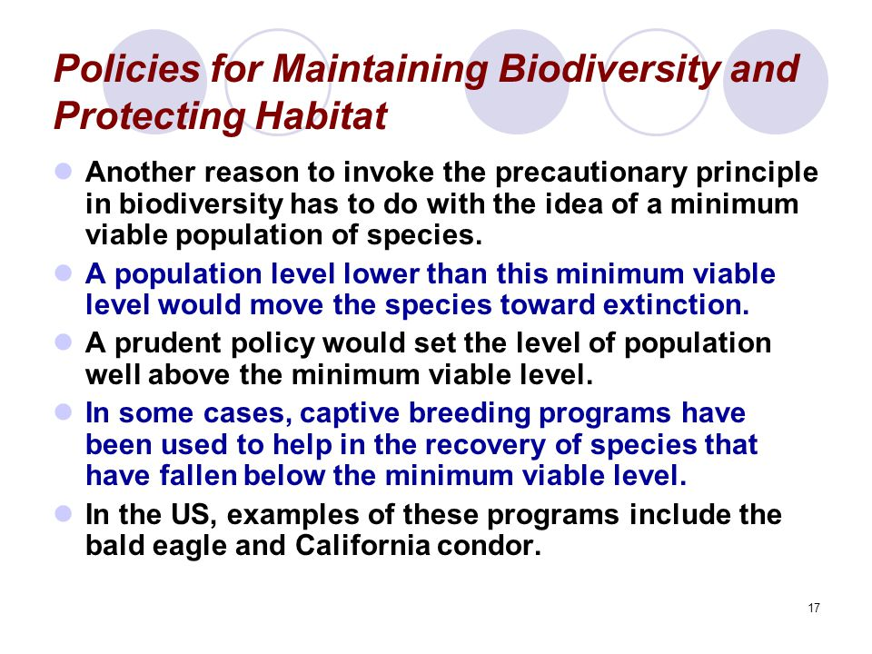 Policies for Maintaining Biodiversity and Protecting Habitat