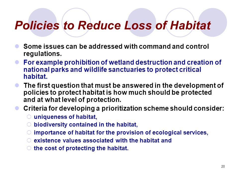 Policies to Reduce Loss of Habitat