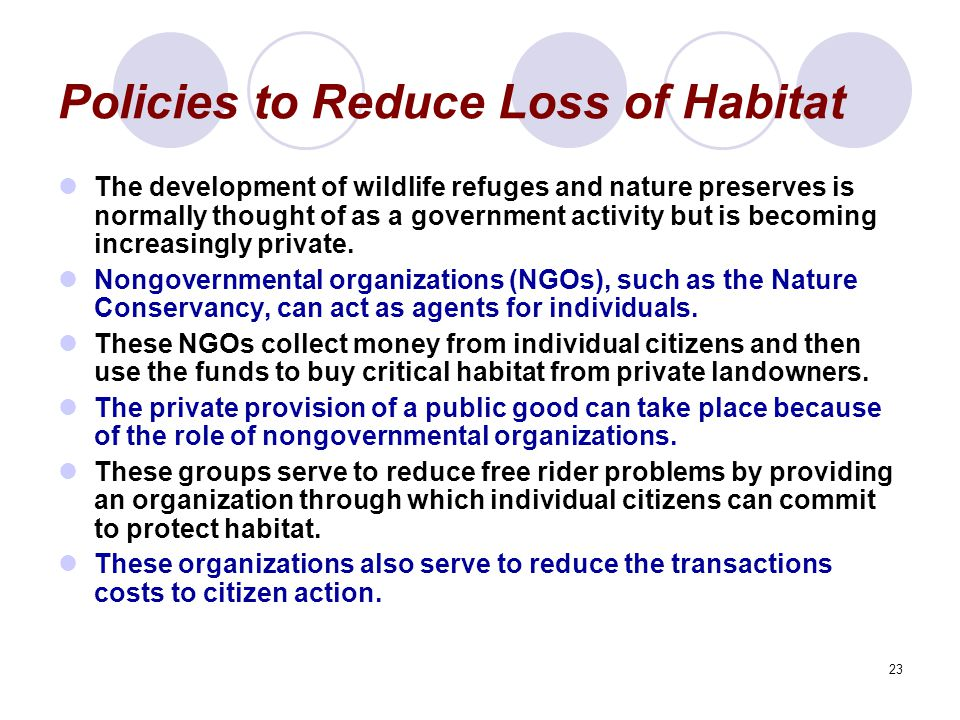 Policies to Reduce Loss of Habitat