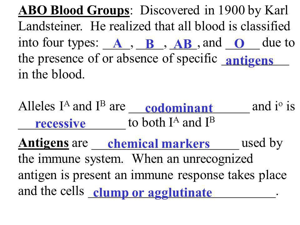ABO Blood Groups: Discovered in 1900 by Karl Landsteiner