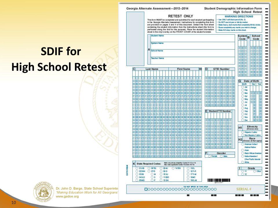 SDIF for High School Retest