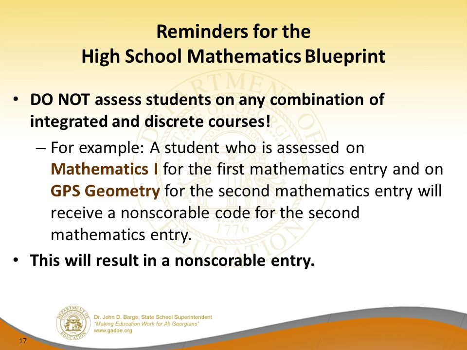 Reminders for the High School Mathematics Blueprint
