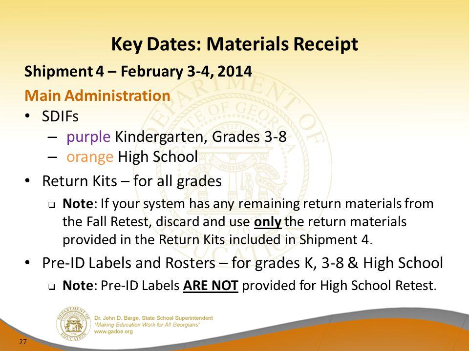 Key Dates: Materials Receipt