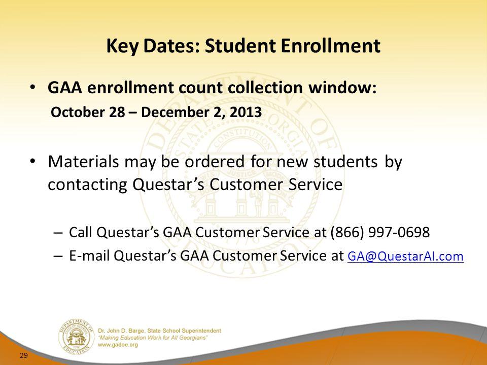 Key Dates: Student Enrollment
