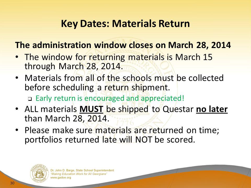 Key Dates: Materials Return