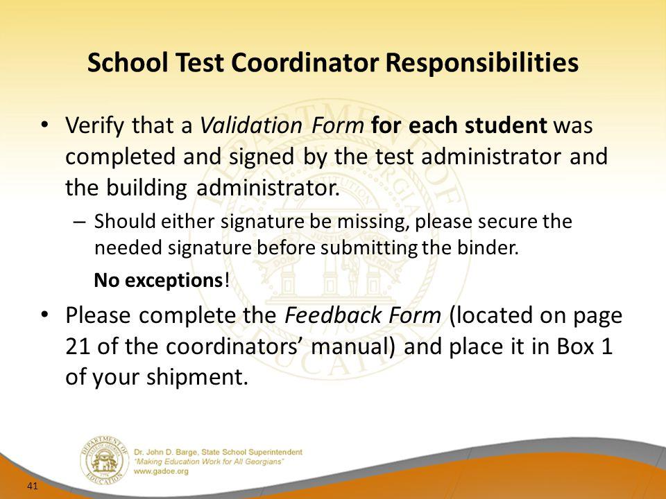 School Test Coordinator Responsibilities