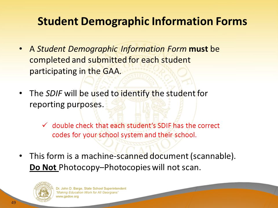 Student Demographic Information Forms