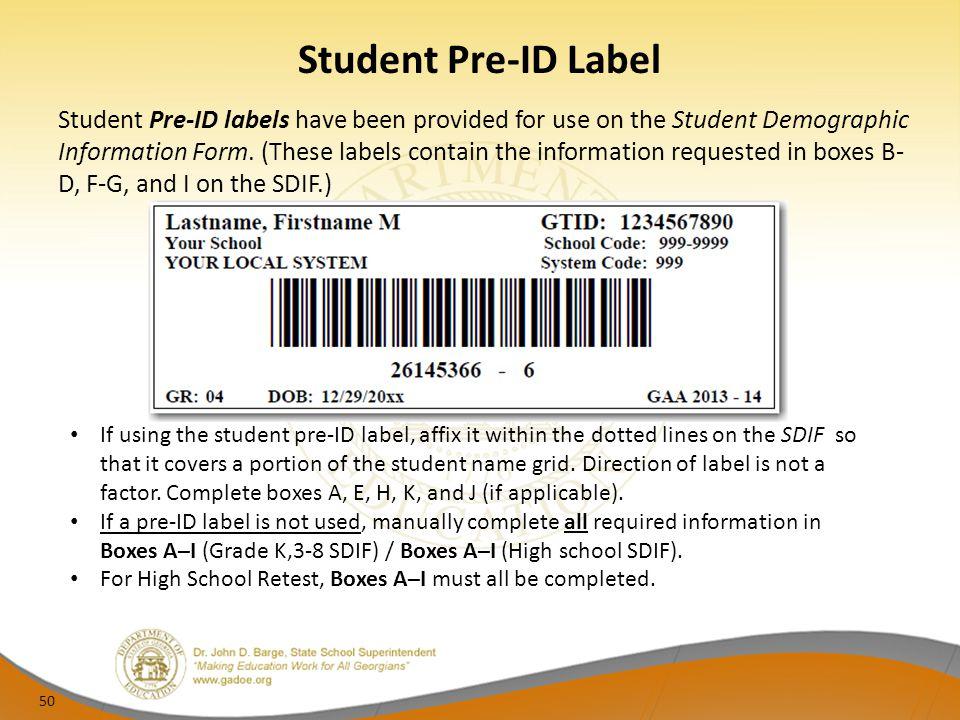 Student Pre-ID Label